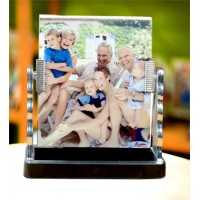 Glass Frame- Mirror with Stand (Silver)