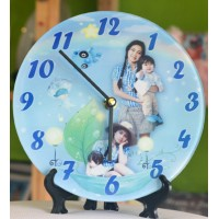Photo Glass Frame With Clock (21 X 21cm)