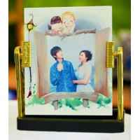 Glass Frame- Mirror with Stand (Gold)